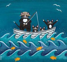 Fishing Trip Original Cat Folk Art Painting by KilkennycatArt