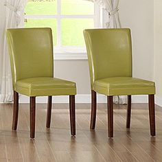 @Overstock - Add a dose of modern elegance to your dining area with this pair of elegant side chairs from Parson. These side chairs are made of exquisite faux leather seat and durable industrial standard coil spring in the cushion.http://www.overstock.com/Home-Garden/Parson-Estonia-Faux-Leather-Chartreuse-Yellow-Chairs-Set-of-2/5171781/product.html?CID=214117 $184.83