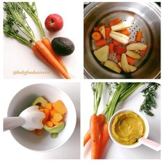 Tag a mum with a little baby Creamy Avocado, Apple & carrot puree [6m+] I'd serve this.Ingrediens: - 3 organic carrots - 1 ripe avocado - 1 sweet organic apple - 1 tbsp fat. (Not olive oil though due to its strong flavor)Method:1. Peel and steam the carrot and apples for about 10 min. You may want to give the carrots 5 min more.2. When they're cooked add them into a bowl with the avocado.3. Add some fat and blend into a puree. And serve. visit my blog for more recipes www.kidsfoo