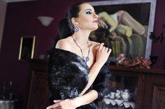 Komplet biżuterii artystycznej z kryształami Swarovski