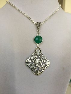 Silver Celtic Design with Green Onyx Gemstone Necklace