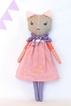 Pink linen cat rag doll is designed by me. Hand embroidered stuffed fabric cat doll is lovely heirloom doll in homemade. Adorable gift for her. Cloth doll for girl. 16 inch ooak doll.