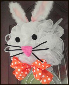 Easter Bunny Wreath by aDOORableDecoWreaths on Etsy, $55.00