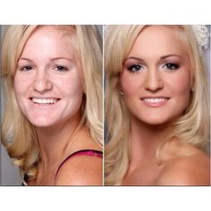 Dinair airbrush makeup before/after.Flawless finish that lasts through anything.