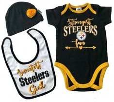 "Steelers Girls Bib, Cap & Bodysuit Set  $19.99   The perfect gift for the ""Sweetest & Strongest Steelers Girl."" Adorable Rose on the cap & sparkle in the logo. Cute Steelers logo print on black Steelers cotton jersey onesie with gold crochet edging. Great gift for new dads & fans. Official NFL Licensed Steelers logo print. Sizes 0-3, 3-6 months  steelers-nfl-infant-bodysuit-bib-cap-set-girl-rose"