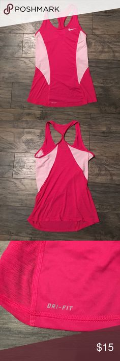 Nike pro dri-fit workout top size small. Pink and white Nike pro dri-fit workout top size small in excellent, like new condition! Nike Tops Tank Tops