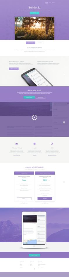 http://getcraftwork.com/builder-landing-page/ Builder – A free vibrant web app PSD template was designed for a sales site of a web based online website builder that targeted designers. The colour scheme plays on a subtle purple tone which is so easy to work with, a hint of aqua and even some subtle pastel oranges would work super well also