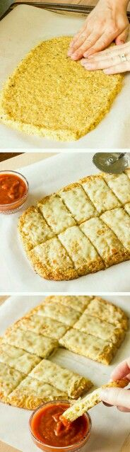 Quinoa Crust for Pizza or Cheesy Garlic Bread.Pizza and garlic bread are not allowed in a gluten free diet. This recipe is for a gluten free, quinoa crust that could be used for pizza or garlic bread Gluten Free Recipes, Low Carb Recipes, Vegetarian Recipes, Cooking Recipes, Diet Recipes, Healthy Recipes, Recipes Dinner, Diet Tips, Vegan Recipes