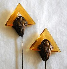 DECO GLASS and Brass HATPINS by WildGeeseVintage on Etsy, $125.00