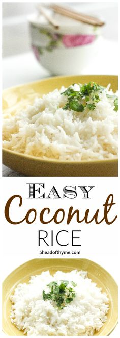 Rice Easy Coconut Rice: Amazing, aromatic coconut flavours emanates from this perfect, easy coconut rice, making it the perfect side dish to almost all Thai and South Asian dishes Side Dish Recipes, Asian Recipes, Easy Thai Recipes, Thai Curry Recipes, Asian Foods, Recipes Dinner, Vegetarian Recipes, Cooking Recipes, Healthy Recipes
