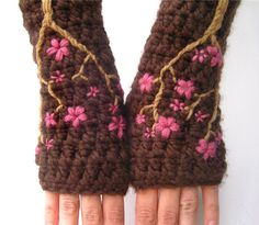 These turned out so pretty!  Cherry Blossom Fingerless Gloves  Chocolate Brown and by LoveFuzz,