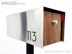 Waldo Modern Mailbox - Stainless Steel + Teak