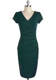 I Think I Can Dress in Teal - Green, Solid, Sheath / Shift, V Neck, Long, Cocktail, Cap Sleeves, Party, Pinup, Vintage Inspired, Minimal