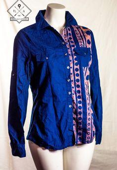 Converse ONE STAR $22.00 #womens #LongSleeve #ButtonDown #Cotton #bleached #pattern #shirt #wearableart  #navy  www.etsy.com/shop/FREELoadApparel