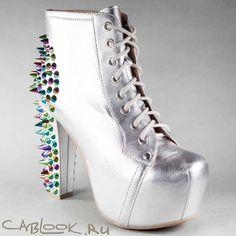 Ботильоны женские Jeffrey Campbell Lita Spike silver в магазине дизайнерской обуви CabLOOK.ru