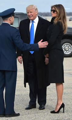 The future first lady channeled her inner Jackie O. stepping out in a sophisticated black coat, which she paired with matching shades and pumps.
