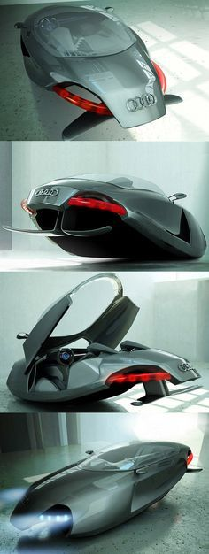 What Audi has to do with The Jetsons ? The Audi Shark is winner of the design competition project sponsored by Audi. A hovercraft, vehicle sliding on an air pocket. This project was idealized by the Turkish Kazim Doku. Os Jetsons, Design Transport, Flying Car, Futuristic Cars, Transporter, Audi Cars, Transportation Design, Future Car, Amazing Cars