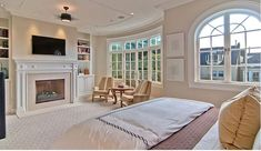 master bedroom with fireplace. I want my fireplace to be the wall between my bedroom and bathroom..