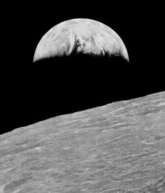NASA's Lunar Orbiter 1 probe took the first ever photograph of Earth from the Moon, August 23, 1966. (Moon Views)