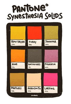 Synesthesia Solids. I wish more people in my life had synesthesia. It's so fun.