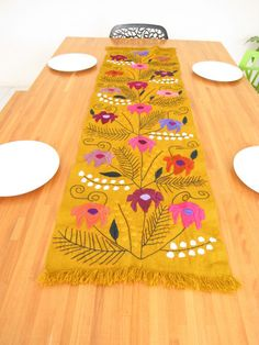 Hand Embroidered Flowered Table Runner From Chiapas, Mexico. Mexican  EmbroideryMexican StyleTattingTable ...