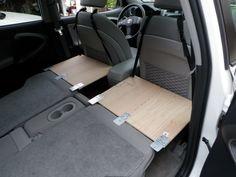 make a Prius rear sleeping bed platform for two, step-by-step walk thru
