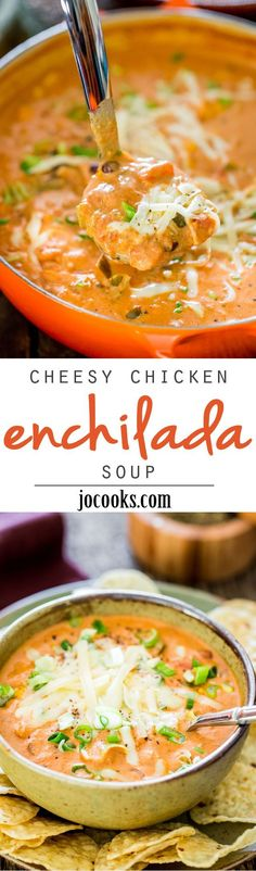 How to make this cheesy chicken enchilada soup. This Creamy Cheesy Chicken Enchilada Soup is a fiesta of flavors full of chunks of chicken, black beans, corn and diced tomatoes, for a complete satisfying and comforting bowl of soup. Crock Pot Recipes, Slow Cooker Recipes, Chicken Recipes, Cooking Recipes, Healthy Recipes, Taco Chicken, Mexican Chicken, Chicken Flavors, Low Carb Chicken Soup