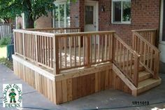 deck design - use privacy fence pickets and close off underneath completely visually. (idea)