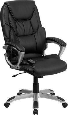 High Back Massaging Black Leather Executive Swivel Office Chair w/ Silver Base - Flash Furniture a relaxing massage in the comfort of your own office with this incredibly comfortable Massaging Executive Office Chair. The included remot Adjustable Office Chair, Swivel Office Chair, Ergonomic Office Chair, Office Chairs Online, Executive Office Chairs, Home Office Chairs, Office Desk, High Back Office Chair, Black Office Chair