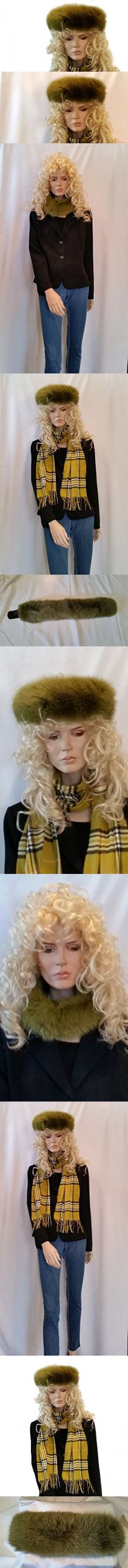SCARVES- FOX-FUR HEADBAND FROM CASHMERE PASHMINA GROUP (LIME GREEN)