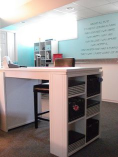 Pier 1 desk with cube storage...could be done with separate top and stacking sides...very cheap!