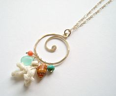 Beach+Shell+Necklace+Coral+Aqua+Necklace+by+BellaAnelaJewelry,+$59.00