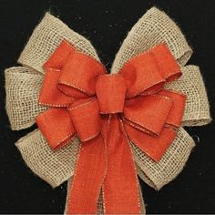 Burlap and Burnt Orange Rustic Fall Wedding Pew Bows Church Aisle Decorations
