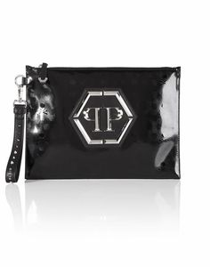 "PHILIPP PLEIN CLUTCH ""A HEAD FULL OF DREAMS"". #philippplein #bags #polyester #lace #leather #clutch #lining #hand bags #"