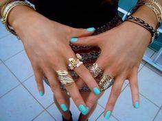 rings, bracelets, turquoise nails