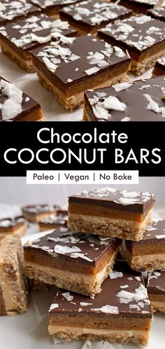 These are the best Paleo Vegan coconut butter bars. They're easy to make and no bake! This coconut bar recipe has a raw almond and pecan crust layered with coconut butter, date caramel and is topped with dark chocolate and flaked coconut. #coconutbar #paleodessert #vegandessert #coconutbutter Healthy Vegan Desserts, Paleo Vegan, Healthy Chocolate, Healthy Dessert Recipes, Healthy Baking, Vegan Recipes, Easy To Make Desserts, No Bake Desserts, Egg Free Recipes