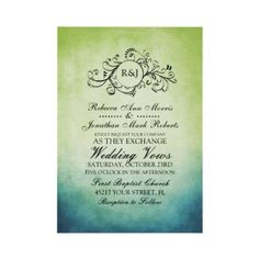 Rustic Green and Blue Bohemian Wedding Invitation  This classy sage and lime green and teal blue or turquoise colored invitation features a beautiful monogram flourish swirls against an vintage inspired grunge shabby chic background. Elegant text is completely customizable so you can use this for other events such as bridal shower, wedding shower, vow renewal, 50th wedding anniversary, and engagement party invitations.