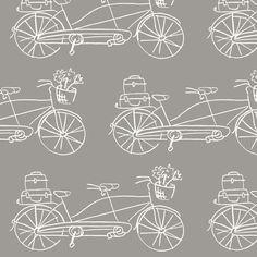 Vintage Traveler - Warm Gray fabric by pattysloniger on Spoonflower - custom fabric