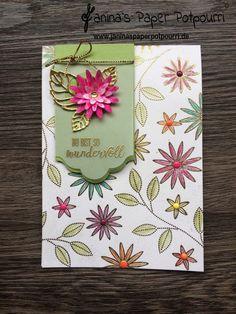 jpp - goldige Blüten – Karte / #GDP074 / Glückwunsch / Geburtstag / Stampin' Up! Berlin / So dankbar / Etikett Kollektion / Stanze Dreierlei Blüten / Framelits Blütenkreation www.janinaspaperpotpourri.de