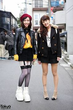 Miki & Yuuna are 17-year-old students we met in #Harajuku. Miki, on the left, is wearing a Spinns flame sweater, Cecil McBee skirt, Hellcat Punks choker, suspender tights & platform sneakers. Yuuna is wearing several items from INGNI with tattoo tights and ankle boots. #tokyofashion #streetsnap
