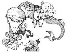 by Anya Katamari   #illustration #katamariart #handdraw #graphics #black #white #boy #girl #love #anyakatamari #mermaid