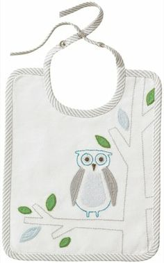 DwellStudio Embroidered Bib - Owls Sky