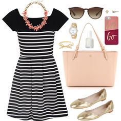 {stripes are always a good idea} by hannaseiters on Polyvore featuring French Connection, Fabio Rusconi, Tory Burch, J.Crew, Kate Spade, Ray-Ban and Essie