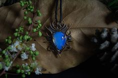 Odin's Seal Copper pendant with opal gemstone.
