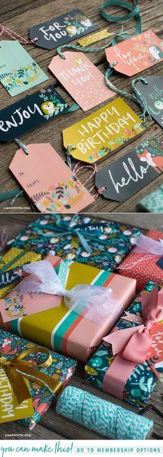 Fall Woodland Gift Wrap & Tags - www.liagriffith.com #diyinspiration #diyidea #diyideas #giftwrapping #printables #diygift #madewithlia