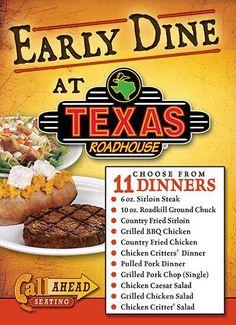 TRH Early Dine Menu Chicken Caesar Salad, Grilled Chicken Salad, Bbq Fried Chicken, Country Chicken, Texas Roadhouse, Grilled Pork Chops, Sirloin Steaks, Pulled Pork, Menu