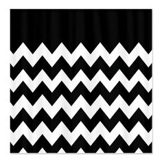 chevron pattern black white shower curtain chevron