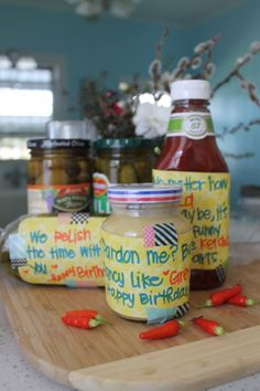 "I put together cute labels for the condiments on the Burger Bar. Little notes that had personal meanings (i.e. you are the mayo to my tuna), and cute sayings like ""We relish the time with you""."