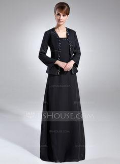 [€ 126.91] Forme Princesse Encolure carrée Longueur ras du sol Mousseline Robe de mère de la mariée avec Emperler Sequins (008006144)