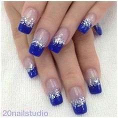 Beautiful dark blue nail art design in French tips. The French tip designs are n blue nail polish and are bordered with silver glitter and sequins as they transition in to clear polish when the design reaches the cuticle of the nails. Blue And Silver Nails, Dark Blue Nails, Silver Glitter, Blue Gel, Cobalt Blue Nails, Teal Nails, Sparkle Nails, Matte Nails, Nail Art Designs 2016